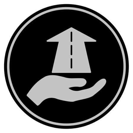Future Care Hand black Vector style in a flat coin symbol using black and light gray colors.