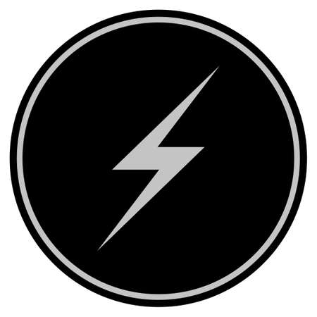 Lightning black coin icon. Vector style is a flat coin symbol using black and light gray colors.