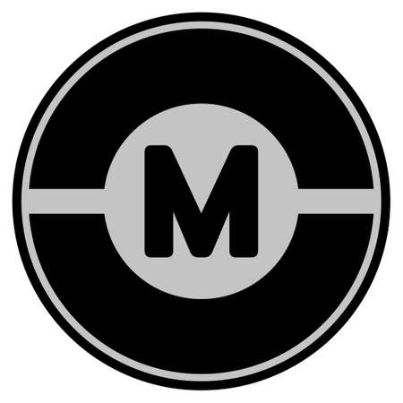 Motor black coin icon. Vector style is a flat coin symbol using black and light gray colors. Illustration