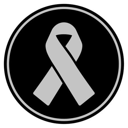 Mourning Ribbon black coin icon. Vector style is a flat coin symbol using black and light gray colors.