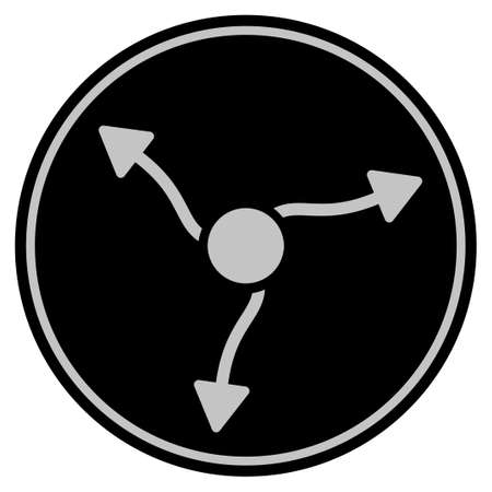 Neutrino Curve Arrows black coin icon. Vector style is a flat coin symbol using black and light gray colors. Illustration