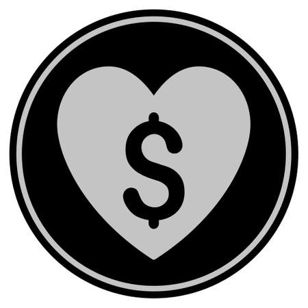 Paid Love black coin icon. Vector style is a flat coin symbol using black and light gray colors. Illustration