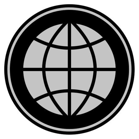 Planet Globe black coin icon. Vector style is a flat coin symbol using black and light gray colors.  イラスト・ベクター素材