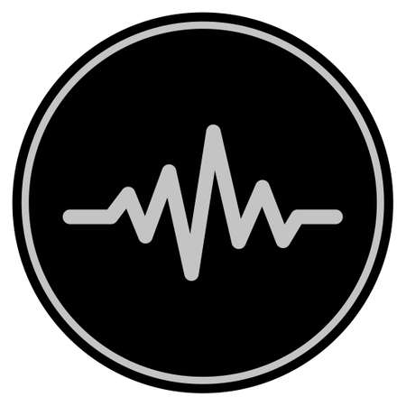 Pulse Signal black coin icon. Vector style is a flat coin symbol using black and light gray colors.