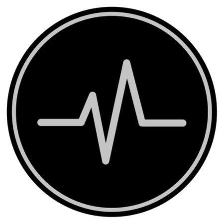 Pulse black coin icon. Vector style is a flat coin symbol using black and light gray colors. Illustration