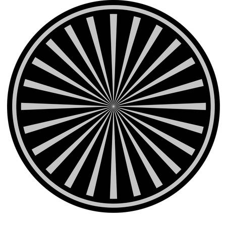 Radial Rays black coin icon. Vector style is a flat coin symbol using black and light gray colors.