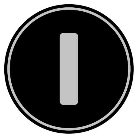 Roman One black coin icon. Vector style is a flat coin symbol using black and light gray colors.