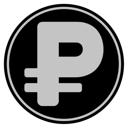 Rouble black coin icon. Vector style is a flat coin symbol using black and light gray colors.