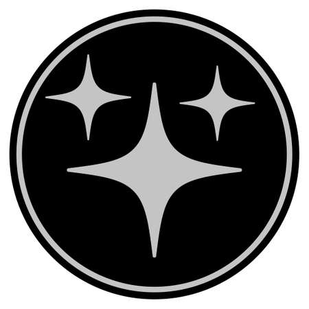 Space Stars black coin icon. Vector style is a flat coin symbol using black and light gray colors. Ilustração
