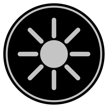 Sun black coin icon. Vector style is a flat coin symbol using black and light gray colors.