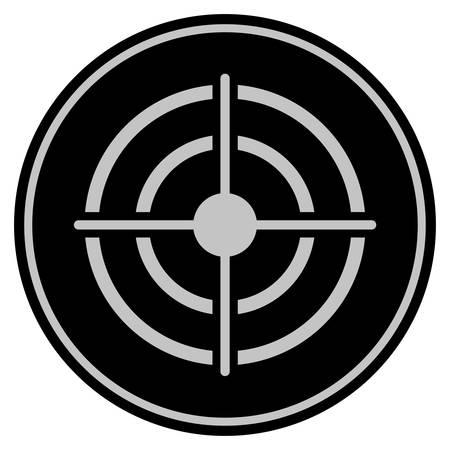 Ícono de moneda negra de destino. El estilo del vector es un símbolo de moneda plana con colores gris oscuro y negro.