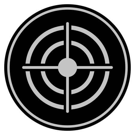 Target black coin icon. Vector style is a flat coin symbol using black and light gray colors.