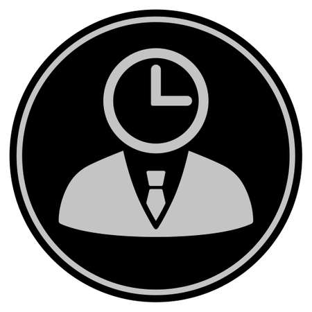 Time Manager black coin icon. Vector style is a flat coin symbol using black and light gray colors.
