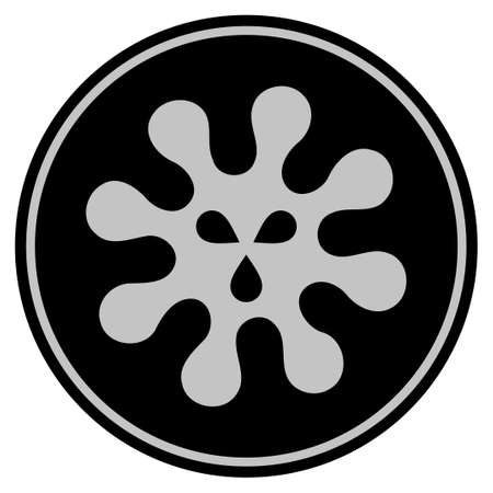 Virus black coin icon. Vector style is a flat coin symbol using black and light gray colors. Illustration