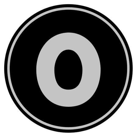 Zero black coin icon. Raster style is a flat coin symbol using black and light gray colors.