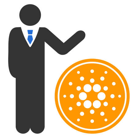 Businessman Show Coin flat vector pictograph. An isolated icon on a white background.