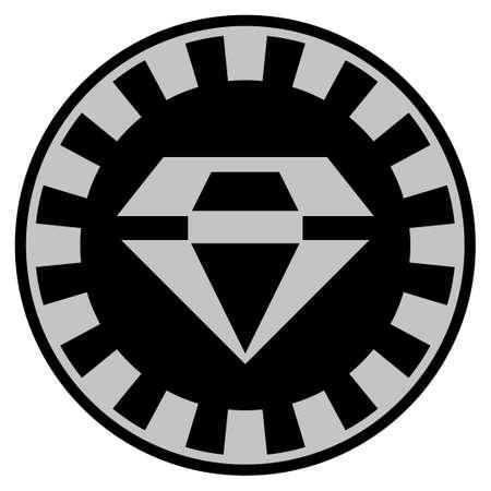 화려한 검은 카지노 칩 그림입니다. 벡터 스타일은 검정색 및 밝은 회색 색상으로 디자인 된 평면 도박 토큰입니다.
