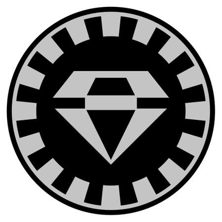 Brilliant black casino chip pictogram. Vector style is a flat gambling token item designed with black and light-gray colors.