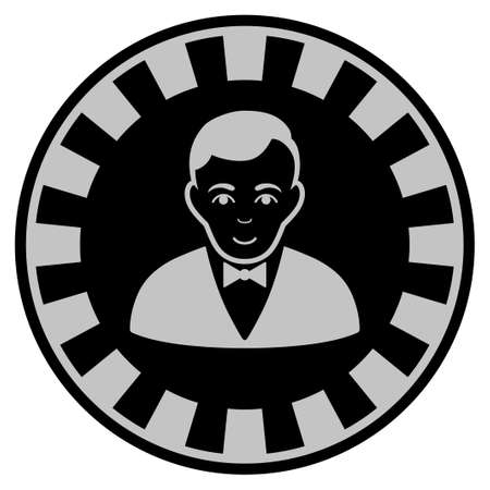 Croupier Dealer black casino chip pictogram. Vector style is a flat gamble token symbol designed with black and light-gray colors. Illustration
