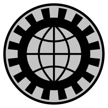 Globe black casino chip icon. Vector style is a flat gamble token symbol designed with black and light-gray colors. Illustration