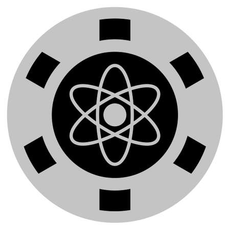 Atom black casino chip pictogram. Vector style is a flat gamble token symbol designed with black and light-gray colors.