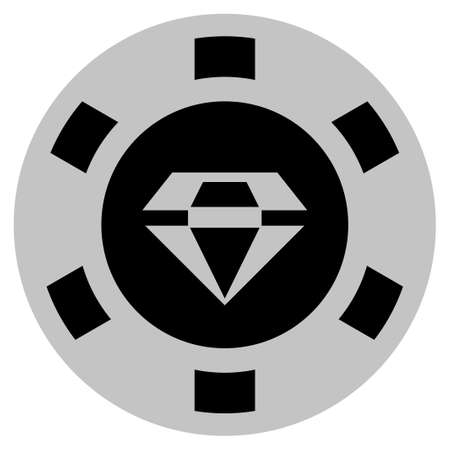 Brilliant black casino chip pictograph. Vector style is a flat gambling token item designed with black and light-gray colors.
