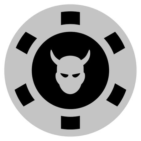 Devil black casino chip pictograph. Vector style is a flat gambling token symbol designed with black and light-gray colors.