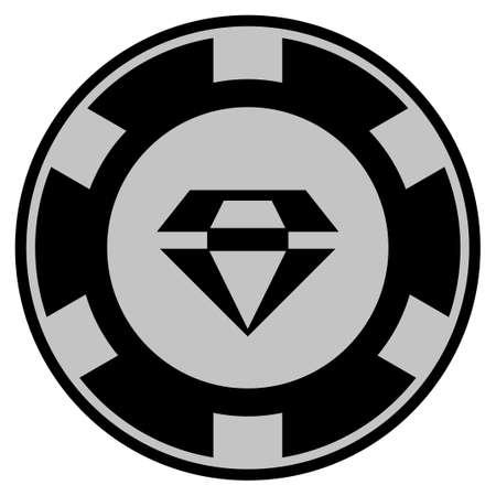 화려한 검은 카지노 칩 아이콘입니다. 벡터 스타일은 검은 색과 밝은 회색 색상으로 디자인 된 평면 도박 토큰 심볼입니다. 일러스트