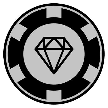 Diamond black casino chip pictograph. Vector style is a flat gambling token item designed with black and light-gray colors.