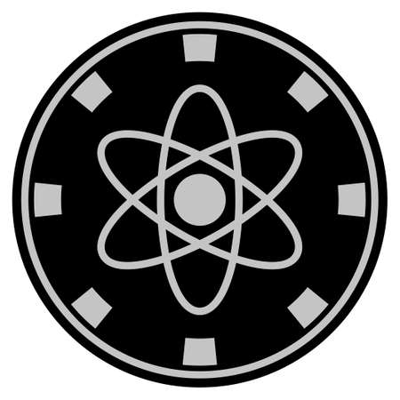 Atom black casino chip icon. Vector style is a flat gamble token item designed with black and light-gray colors.