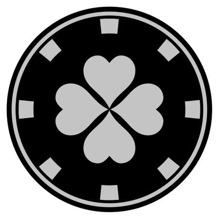 Lucky Clover black casino chip icon. Vector style is a flat gamble token symbol designed with black and light-gray colors.