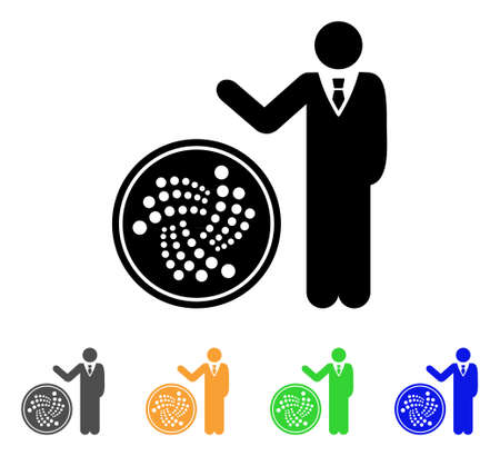 Businessman Show Iota Coin icon. Vector illustration style is a flat iconic businessman show iota coin black symbol with grey, yellow, green, blue color versions.