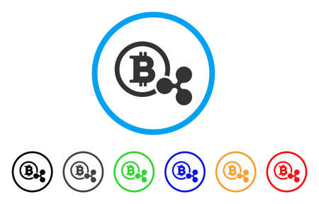 Bitcoin And Ripple rounded icon. Style is a flat grey symbol inside light blue circle with bonus colored versions. Bitcoin And Ripple vector designed for web and software interfaces. Иллюстрация