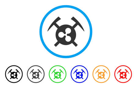 Ripple Mining Hammers rounded icon. Style is a flat grey symbol inside light blue circle with bonus color versions. Ripple Mining Hammers vector designed for web and software interfaces. Иллюстрация