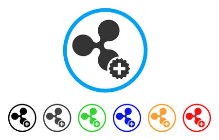 Create Ripple rounded icon. Style is a flat gray symbol inside light blue circle with bonus color variants.