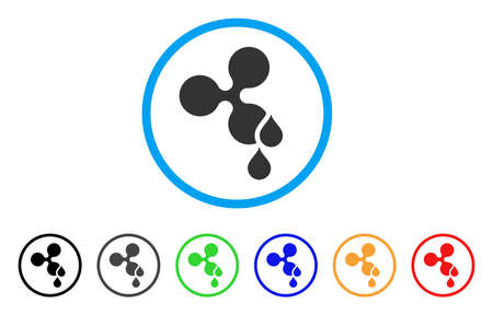Ripple Blood Drops rounded icon. Style is a flat gray symbol inside light blue circle with additional color versions. Illustration