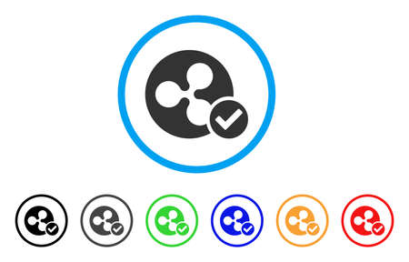 Ripple Coin Valid rounded icon. Style is a flat grey symbol inside light blue circle with bonus color variants. Ripple Coin Valid vector designed for web and software interfaces. Иллюстрация
