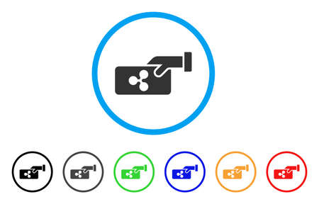 Ripple Payment rounded icon. Style is a flat gray symbol inside light blue circle with additional colored versions. Ripple Payment vector designed for web and software interfaces.
