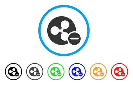 Ripple Remove rounded icon. Style is a flat grey symbol inside light blue circle with additional color variants. Ripple Remove vector designed for web and software interfaces. Stock Illustratie