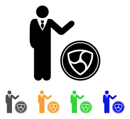 Businessman Show Nem Coin icon. Vector illustration style is a flat iconic businessman show nem coin black symbol . Illusztráció