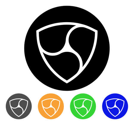 Nem Currency icon. Vector illustration style is a flat iconic nem currency black symbol with grey, yellow, green, blue color versions.