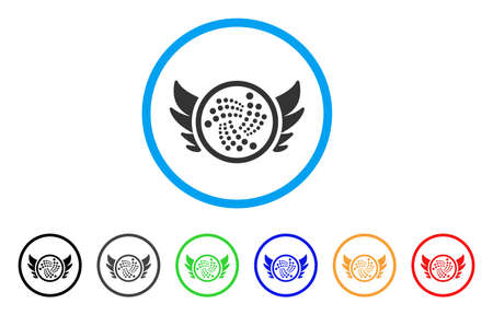Iota Angel Investment rounded icon. Style is a flat gray symbol inside light blue circle with additional color variants. Iota Angel Investment vector designed for web and software interfaces. Illustration