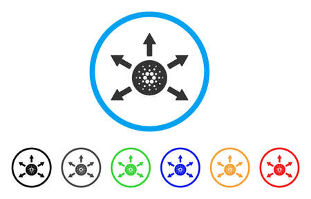 Cardano Distribution Arrows rounded icon. Style is a flat grey symbol inside light blue circle with additional colored versions.