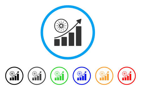 Cardano Growth Up Chart rounded icon. Style is a flat grey symbol inside light blue circle with additional color variants. Cardano Growth Up Chart vector designed for web and software interfaces.