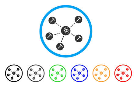 Cardano Mining Network rounded icon. Style is a flat gray symbol inside light blue circle with bonus colored versions. Cardano Mining Network vector designed for web and software interfaces. Illustration