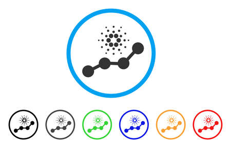 Cardano Trend rounded icon. Style is a flat gray symbol inside light blue circle with additional colored versions. Cardano Trend vector designed for web and software interfaces.  イラスト・ベクター素材