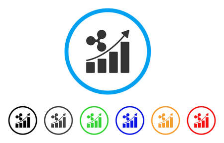 Ripple Growth Trend rounded icon. Style is a flat gray symbol inside light blue circle with bonus color variants. Ripple Growth Trend vector designed for web and software interfaces.