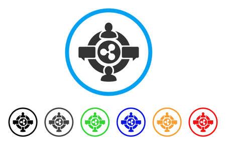 リップルソーシャルネットワーク丸みアイコン。スタイルは、追加の色のバージョンと水色の円の内側の平らな灰色のシンボルです。ウェブとソフ