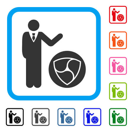 Businessman Show Nem icon. Flat grey iconic symbol inside a blue rounded frame. Black, grey, green, blue, red, orange color additional versions of businessman show nem vector.