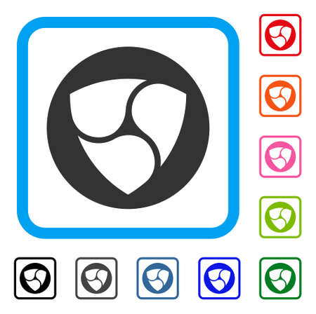 Nem Currency icon. Flat gray pictogram symbol in a blue rounded frame. Black, gray, green, blue, red, orange color variants of nem currency vector. Designed for web and software interfaces.